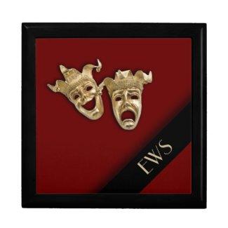 Comedy and Tragedy Theater Masks Monogram Box Keepsake Boxes