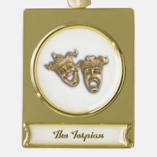 Comedy and Tragedy Theater Masks Monogram Gold Plated Banner Ornament