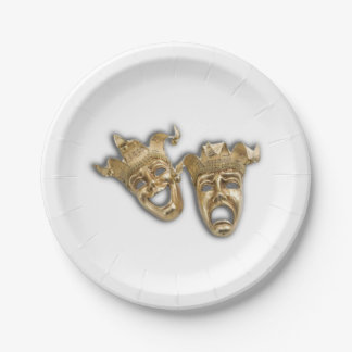 Comedy and Tragedy Theater Masks Paper Plate