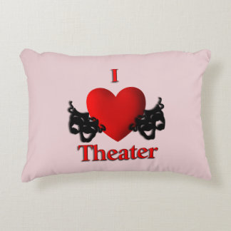 Comedy and Tragedy Theater Masks Pink Accent Pillow