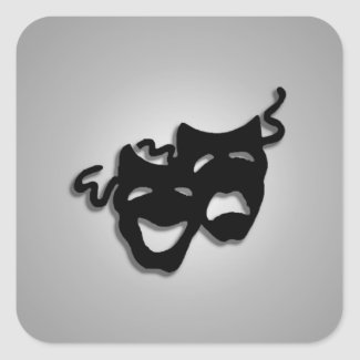 Comedy and Tragedy Theater Masks Square Stickers