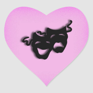 Comedy and Tragedy Theater Pink Heart Sticker