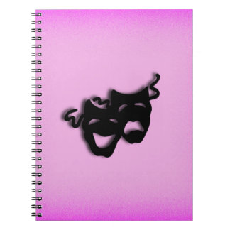 Comedy and Tragedy Theater Pink Spiral Notebook