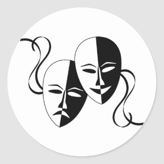Comedy and Tragedy Theatre Masks/Faces Classic Round Sticker