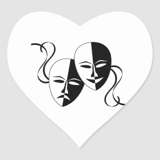 Comedy and Tragedy Theatre Masks/Faces Heart Sticker