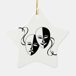 Comedy and Tragedy Theatre Masks/Faces Double-Sided Star Ceramic Christmas Ornament