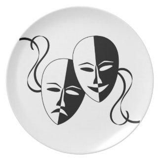 Comedy and Tragedy Theatre Masks Faces Dinner Plates