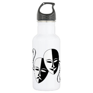 Comedy and Tragedy Theatre Masks/Faces Stainless Steel Water Bottle