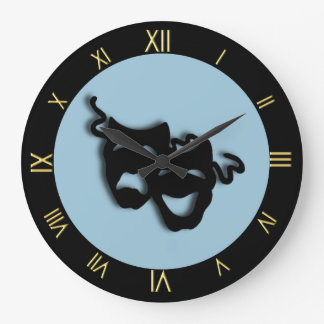 Comedy and Tragedy Unique Theater Wall Clock Blue