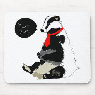 Comedy badger in neck tie mouse pad