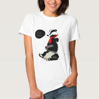 Comedy badger in neck tie tee shirt