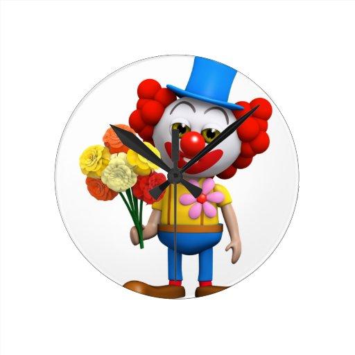 Comedy Clown Romance Round Wallclock