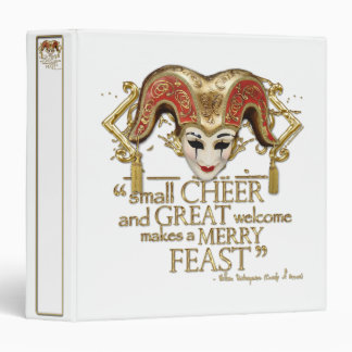 Comedy Of Errors Feast Quote (Gold Version) 3 Ring Binder