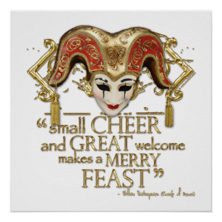 Comedy Of Errors Feast Quote (Gold Version) Poster
