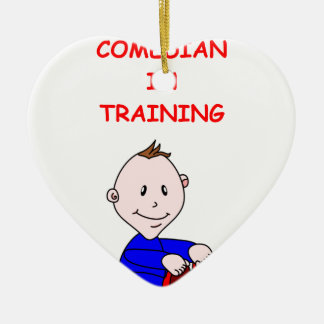 COMEDY Double-Sided HEART CERAMIC CHRISTMAS ORNAMENT