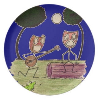 Comedy serenades Tragedy by the full moon Plate