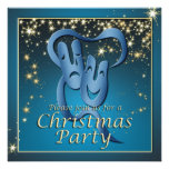 Comedy Tragedy Blue Theatre Mask Christmas Party Custom Announcement