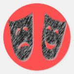 Comedy Tragedy Classic Round Sticker