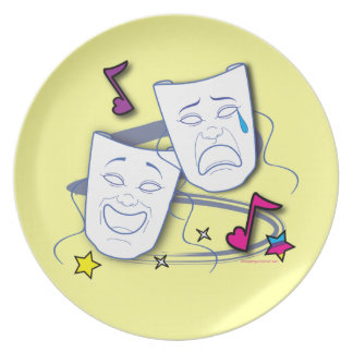 Comedy Tragedy Drama Masks Dinner Plate