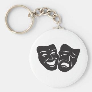 Comedy Tragedy Drama Theatre Masks Basic Round Button Keychain