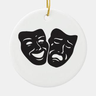 Comedy Tragedy Drama Theatre Masks Ceramic Ornament