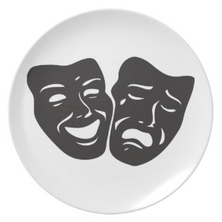 Comedy Tragedy Drama Theatre Masks Plates