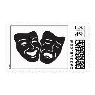 Comedy Tragedy Drama Theatre Masks Stamp