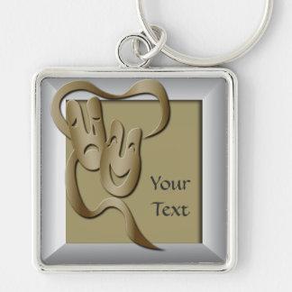 Comedy Tragedy Gold Theatre Mask Premium  Key Keychain