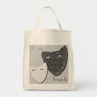 Comedy / Tragedy - Grocery Tote Bags