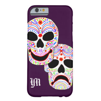 Comedy-Tragedy Halloween DOTD Skulls monogram Barely There iPhone 6 Case