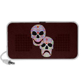 Comedy-Tragedy Halloween DOTD Skulls monogram Portable Speakers
