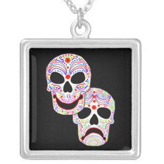 Comedy-Tragedy Halloween DOTD Skulls Silver Plated Necklace