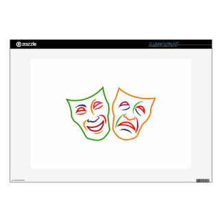 "Comedy Tragedy Masks 15"" Laptop Decal"