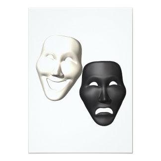 Comedy Tragedy Masks 5x7 Paper Invitation Card