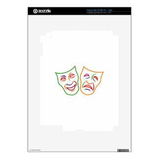 Comedy Tragedy Masks Decal For iPad 2