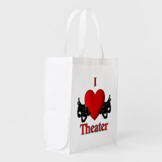Comedy Tragedy Masks Grocery Bag