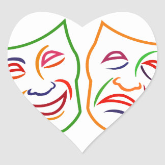 Comedy Tragedy Masks Heart Sticker