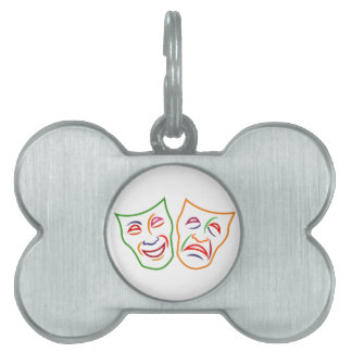 Comedy Tragedy Masks Pet Name Tags