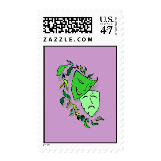 Comedy & Tragedy Masks Play Acting Theatre Stamps