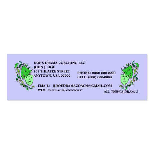 COMEDY & TRAGEDY MASKS THEATER ARTS PROFILE CARDS Double-Sided MINI BUSINESS CARDS (Pack OF 20)