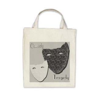 Comedy / Tragedy - Organic Grocery Tote Bags