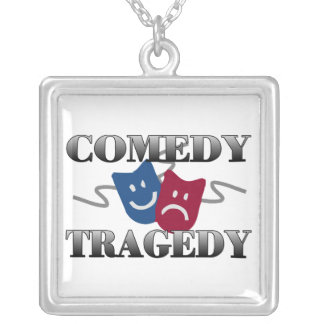 Comedy Tragedy Silver Plated Necklace