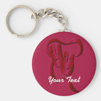 Comedy Tragedy Theater Mask Red Basic Custom BK Keychain
