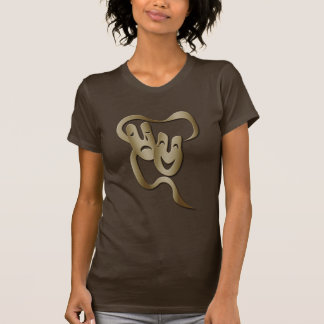 Comedy Tragedy Theatre Mask Women's Brown T T-Shirt
