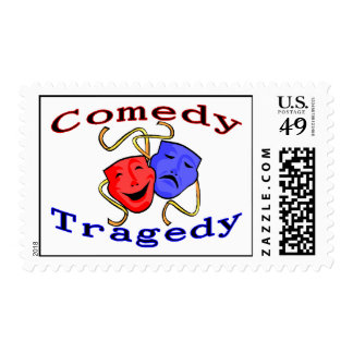 Comedy Tragedy Theatre Masks Stamp