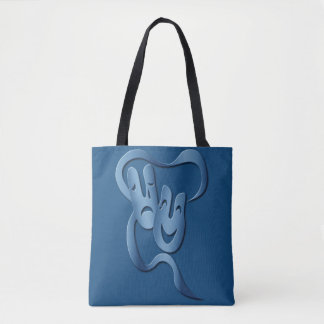 Comedy Tragedy Turquoise Theatre Mask Tote Bag
