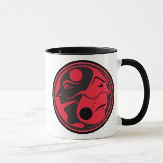 Comedy Tragedy Yin Yang Red Mug