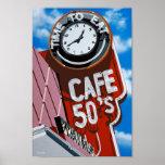 Comensal de los años 50 del café en el poster hist