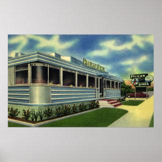 Comensal retro clásico del pelícano del restaurant poster