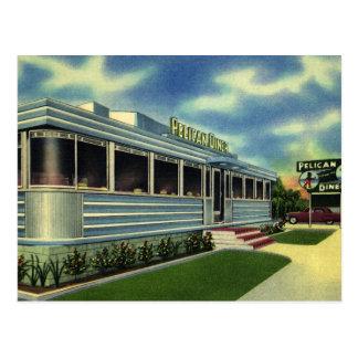 Comensal retro clásico del pelícano del restaurant postal